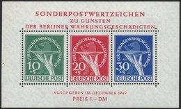 BERLIN Bl. 1 **, 1949, Block Währungsgeschädigte, Pracht, Mi. 950.- - Berlin (West)