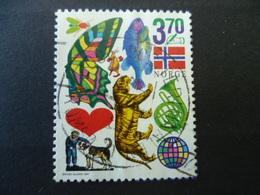 TIMBRE NORVEGE N° 1221  ANIMAUX PAPILLON TIGRE POISSON  COEUR  CHIEN MUSIQUE  DRAPEAU - Norway