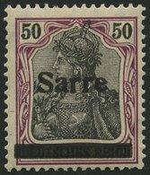 SAARGEBIET 13yI *, 1920, 50 Pf. Dkl`bräunlichlila/schwarz Auf Orangeweiß, Type I, Falzrest, üblich Gezähnt Pracht, Gepr. - Saargebiet