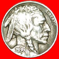 # INDIAN HEAD (1913-1938): USA ★ 5 CENTS 1936S BLACK DIAMOND (1893-1915)! LOW START ★ NO RESERVE! - Emissioni Federali