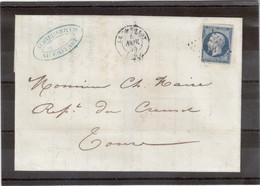 CP32 - France Napoléon Sur Lettre De LE CREUSOT Du 5nov 1855 - PC 1034 - Pour Tours. - 1853-1860 Napoleon III
