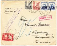1937 Flugbrief Aus Palma De Mallorca Nach Hamburg, Zensurstempel Und Nachgebührstempel Deutschland - 1931-50 Lettres