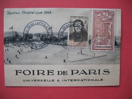 Carte 1942  Foire De Paris Universelle & Internationale  Section Philatélique  Avec Très Belle Vignette - Events