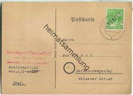 Brief Berlin - 10 Pf. Schwarzaufdruck - Bezirksamt Tempelhof - Ortskarte 1948 - Berlin (West)