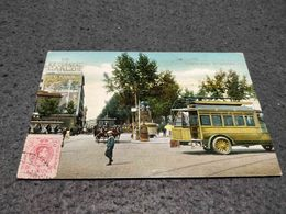 ANTIQUE POSTCARD SPAIN BARCELONA - DETALLE PLAZA DE CATALUNA WITH BUS CIRCULATED - España
