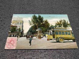 ANTIQUE POSTCARD SPAIN BARCELONA - DETALLE PLAZA DE CATALUNA WITH BUS CIRCULATED - Espagne
