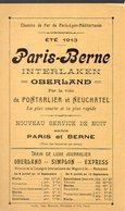 Horaine Paris-Berne  (Suisse:) Chemins De Fer PLM  été 1913 (PPP8871) - Europe
