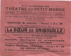 Papillon Publicitaire/ Théatre Du Petit Monde/ La Soeur De Gribouille/Théatre Municipal D'Epernay/HUMBLE/1930    PROG171 - Cinema Advertisement