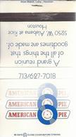 Lucifermapje. AMERICAN PIE. 5250 W. ALABAMA At RICE HOUSTON. Matchbox Allumettes Luciferdoos Lucifer Lucifermap - Matchboxes