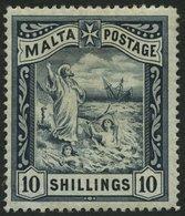 MALTA 14 *, 1899, 10 Sh. Blauschwarz, Falzreste, Feinst, Mi. 130.- - Malta