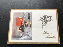 4293/98 - BUON NATALE Fillette Postant Un Courrier (dorure Paillette) - Neujahr