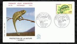 PROTECTION DE LA NATURE . CAMELEON. 06 NOVEMBRE  1971 . PARIS . - FDC