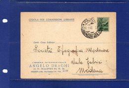 ##(DAN186/1)-22/1/1947-cedola Commissione Libraria Da Padova Per Modena Affrancata Con Il Valore Isolato L.1 Democratica - 6. 1946-.. Repubblica