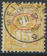 1887 - 15 Rp. Gelb Wertziffer Gestempelt - ABART Starke Einfärbung / Kreuzhintergrund Ausgefüllt - Variétés