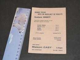 LIEGE - MAISON CASY - Moulinet Morritt, Soies, ... Tailles Poissons - Pêche