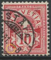 1892 - 10 Rp. Wertziffer Gestempelt - ABART Eckschild Links Unten Defekt - Variétés
