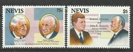 NEVIS  1993  CHARLES DE GAULLE,CONRAD ADENAUER,JOHN F.KENNEDY MNH - St.Kitts And Nevis ( 1983-...)