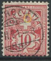 1893 - 10 Rp. Wertziffer Gestempelt - ABART Kreuzschenkel Oben Rechts Gebrochen - Variétés