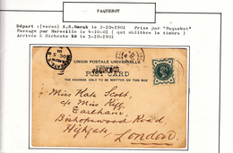 Cacht PAQUEBOT Sur Carte 1901     2 Scan - Gibraltar