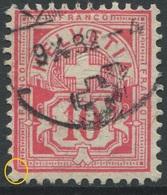 1894 - 10 Rp. Wertziffer Gestempelt - ABART Links Unten Abgeschrägte Ecke - Abarten