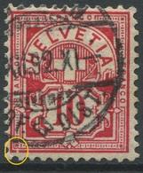 1896 - 10 Rp. Wertziffer Gestempelt - ABART Randlinie Links Unten Gebrochen - Variétés
