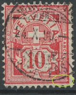 1897 - 10 Rp. Wertziffer Gestempelt - ABART Gebrochene Randlinie Unten Rechts - Variétés