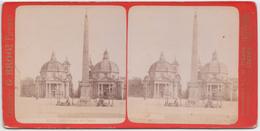 G. Brogi - Piazza Del Popolo, Roma - Cartes Stéréoscopiques