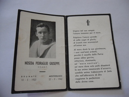 WW2 REGIA MARINA LUTTINO DEATH CARD 1942 NOSEDA PEDRAGLIO GIUSEPPE NATO A BRUNATE MORTO NEL MEDITERRANEO - Altri