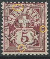 1901 - 5 Rp. Wertziffer Gestempelt - ABART Diverse Farbflecken - Variétés