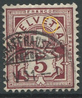 1902 - 5 Rp. Wertziffer Gestempelt - ABART Farbfleck Zw. ET Von HELVETIA - Abarten