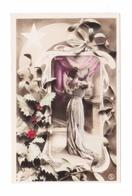 Gondy, Photo Reuthlinger, éd. S.I.P. N° 2128, Illustrateur Art Nouveau E. Michau, Houx, Gui, Robe, Mode, éventail - Artisti