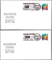 CAMBIO DE MILENIO - CHANGE OF MILLENNIUM. St. Croix VI, Estados Unidos. Set 2 Cancels - Relojería