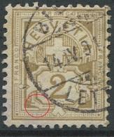 1906 - 2 Rp. Wertziffer Gestempelt - ABART Farbloser Defekt Links Des Wertschildes - Abarten