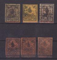 TURQUIE : POSTE ET TAXE . 6 EX . OBL . B A TB . 1863 . - 1858-1921 Ottoman Empire