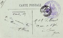 """Cachet   """"  Convois Automobiles Section T.P.T. """"  Sur CP  Type De Moulière - WW I"""
