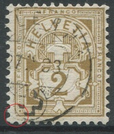 1909 - 2 Rp. Wertziffer Gestempelt - ABART Ecke Unten Links Defekt - Variétés