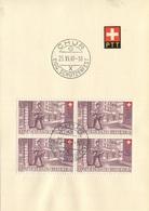 1910 - 2 Viererblocks Mit Sonderstempel CHUR EIDG. SCHÜTZENFEST 25.VI.49 - Gebraucht