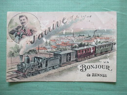 CPA 35 UN BONJOUR DE RENNES TRAIN HOMME - Rennes