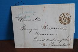 1867  -  LETTRE  DE  VIENNE  POUR  CONSTANTINOPLE     3   PHOTOS - 1850-1918 Empire