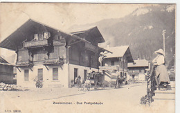 Zweisimmen - Postgebäude Mit Postkutsche - Stabstempel - 1905        (P-147-61120) - BE Bern