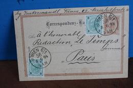 1894    -      ENTIER  POSTAL    POUR   LA  FRANCE - Entiers Postaux