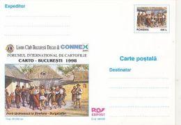 ORGANIZATIONS, LION CLUB, PEASANTS DANCE PAINTING, PC STATIONERY, ENTIER POSTAL, 1998, ROMANIA - Rotary, Lions Club