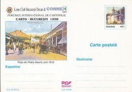 ORGANIZATIONS, LION CLUB, PIATRA NEAMT MARKET SQUARE, HORSE CARRIAGE, PC STATIONERY, ENTIER POSTAL, 1998, ROMANIA - Rotary, Lions Club