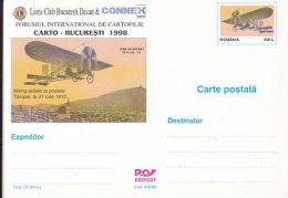 ORGANIZATIONS, LION CLUB, PLANE OVER BRASOV, PC STATIONERY, ENTIER POSTAL, 1998, ROMANIA - Rotary, Lions Club