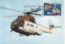HELICOPTER, IAR-330, MEDIAS-SIBIU POSTAL FLIGHT, CM, MAXICARD, CARTES MAXIMUM, 1989, ROMANIA - Helicopters