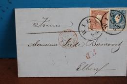 1859   -     LETTRE    DE   VIENNE   POUR   ELBEUF     EN  FRANCE                      4   PHOTOS - 1850-1918 Empire