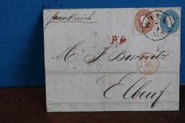 1863   -     LETTRE    DE   VIENNE   POUR   ELBEUF     EN  FRANCE                      2   PHOTOS - 1850-1918 Empire