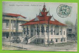 MARSEILLE - Exposition Coloniale - Pavillon Du Laos Cpa Colorisée Circulé 1906 - Exposition D'Electricité Et Autres