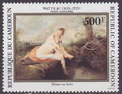 Timbre PA Neuf ** N° 330(Yvert) Cameroun 1984 - Tableau De Watteau, Diane Au Bain - Cameroon (1960-...)