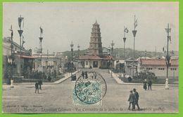 MARSEILLE - Exposition Coloniale - Vue D'ensemble De La Section De L'Indo Chine Côté Gauche Cpa Colorisée Circulé 1906 - Exposition D'Electricité Et Autres